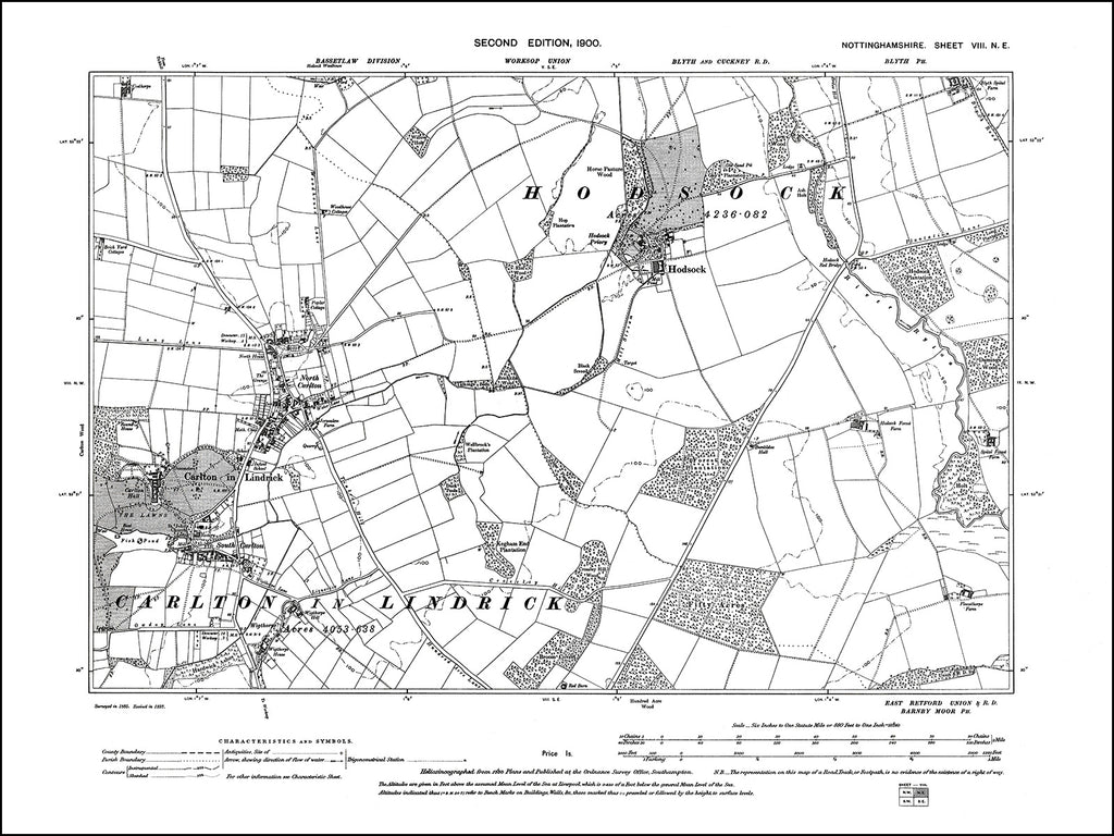 NOTTINGHAMSHIRE 008NE : old map of Hodsock, Carlton in Lindrick in 1900
