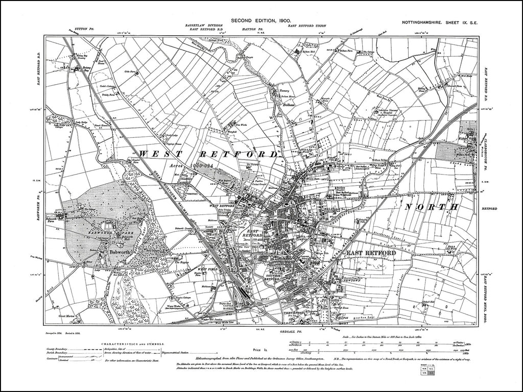 NOTTINGHAMSHIRE 009SE : old map of Retford (north) in 1900