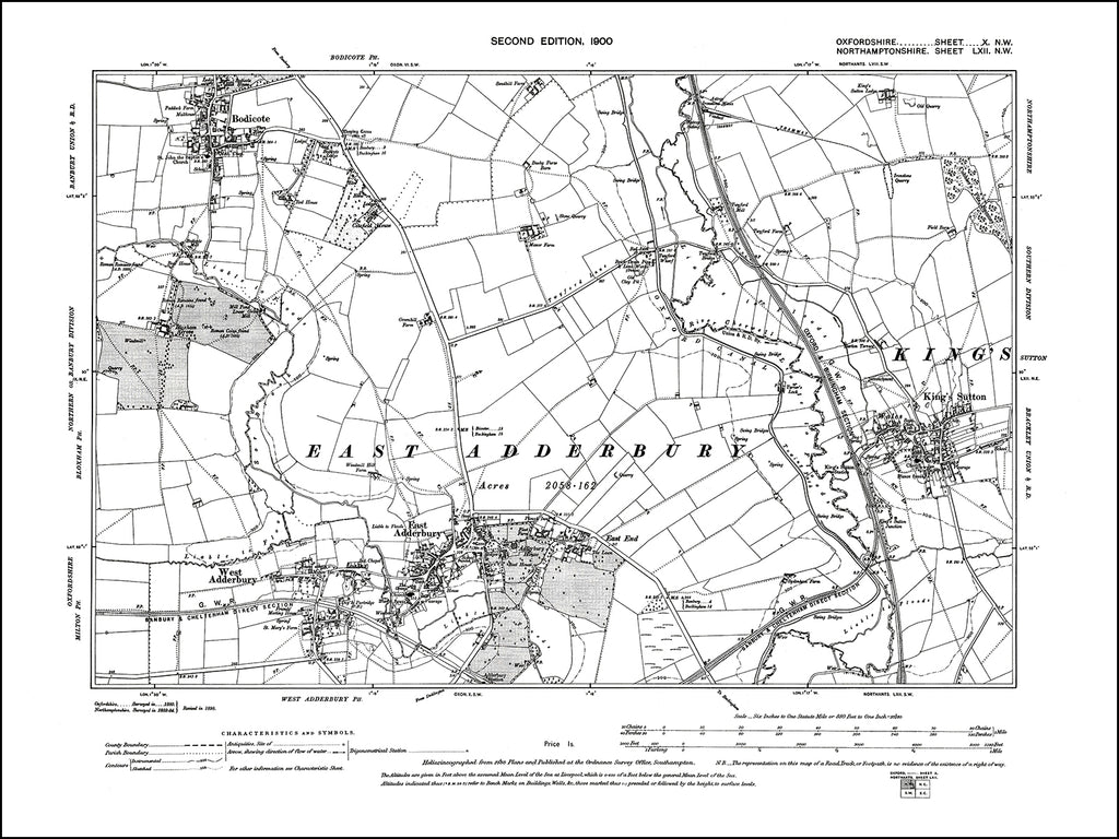 OXFORDSHIRE 010NW : old map of East Adderbury, Bodicote (south) in 1900