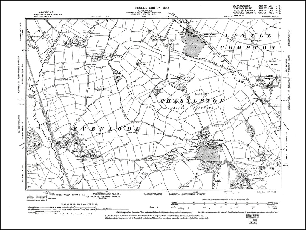 OXFORDSHIRE 013NE : old map of Chastleton in 1900