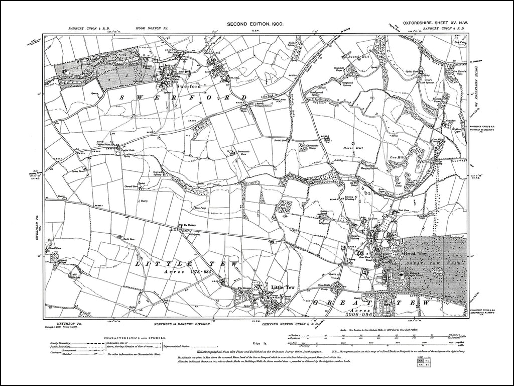 OXFORDSHIRE 015NW : old map of Great and Little Tew, Swerford in 1900