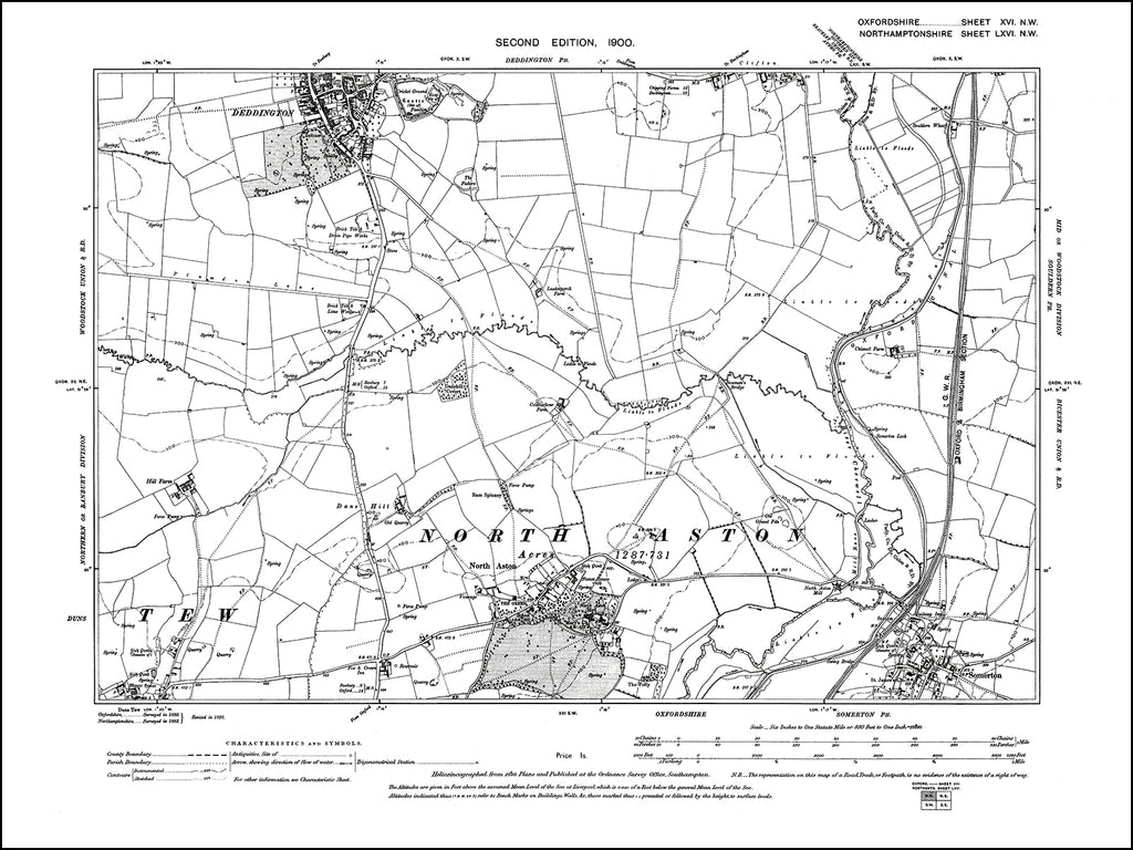 OXFORDSHIRE 016NW : old map of Deddington (south), North Aston, Somerton in 1900