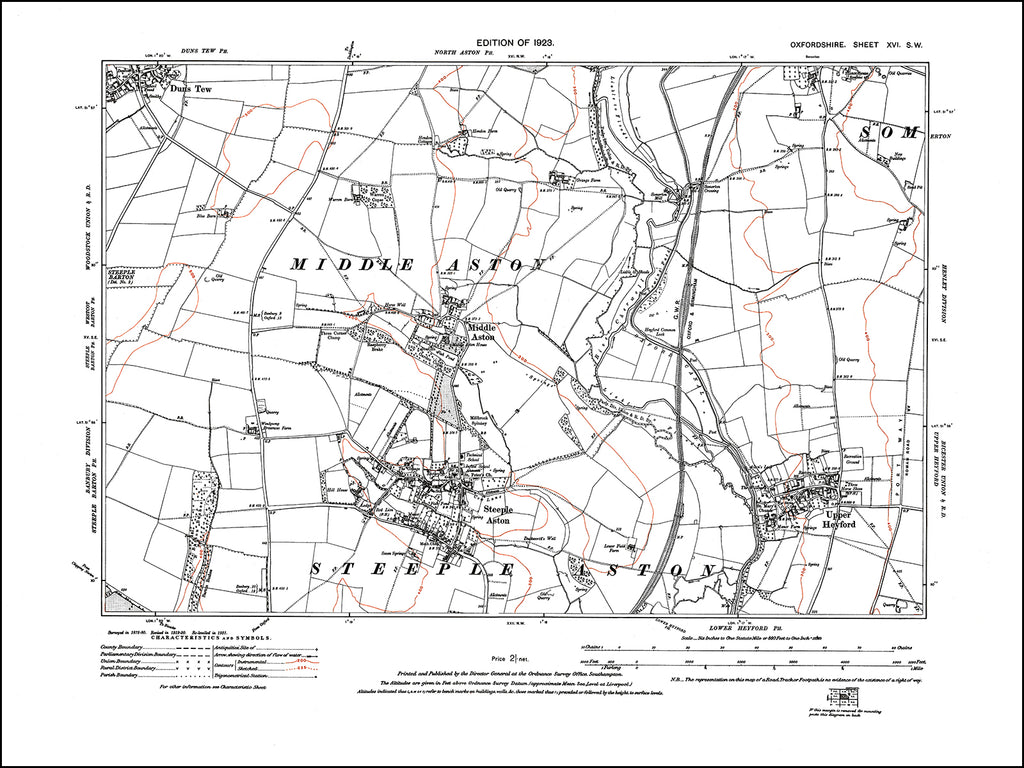 OXFORDSHIRE 016SW : old map of Steeple Aston, Middle Aston, Upper Heyford in 1923