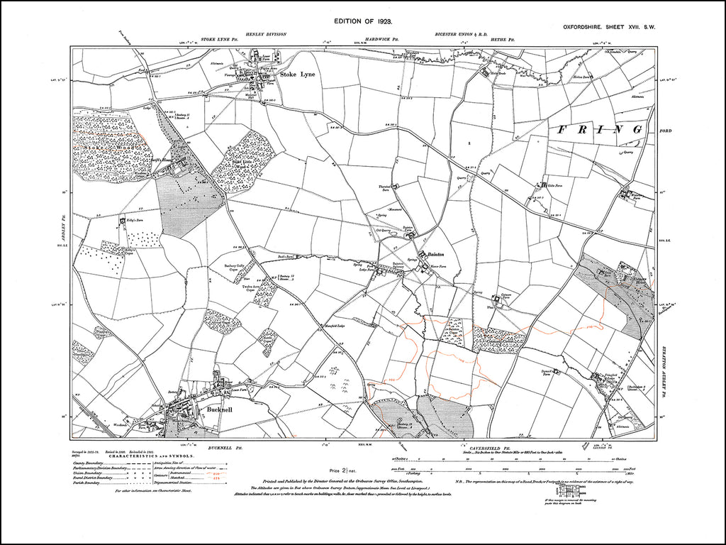 OXFORDSHIRE 017SW : old map of Bucknell, Stoke Lyne, Bainton in 1923