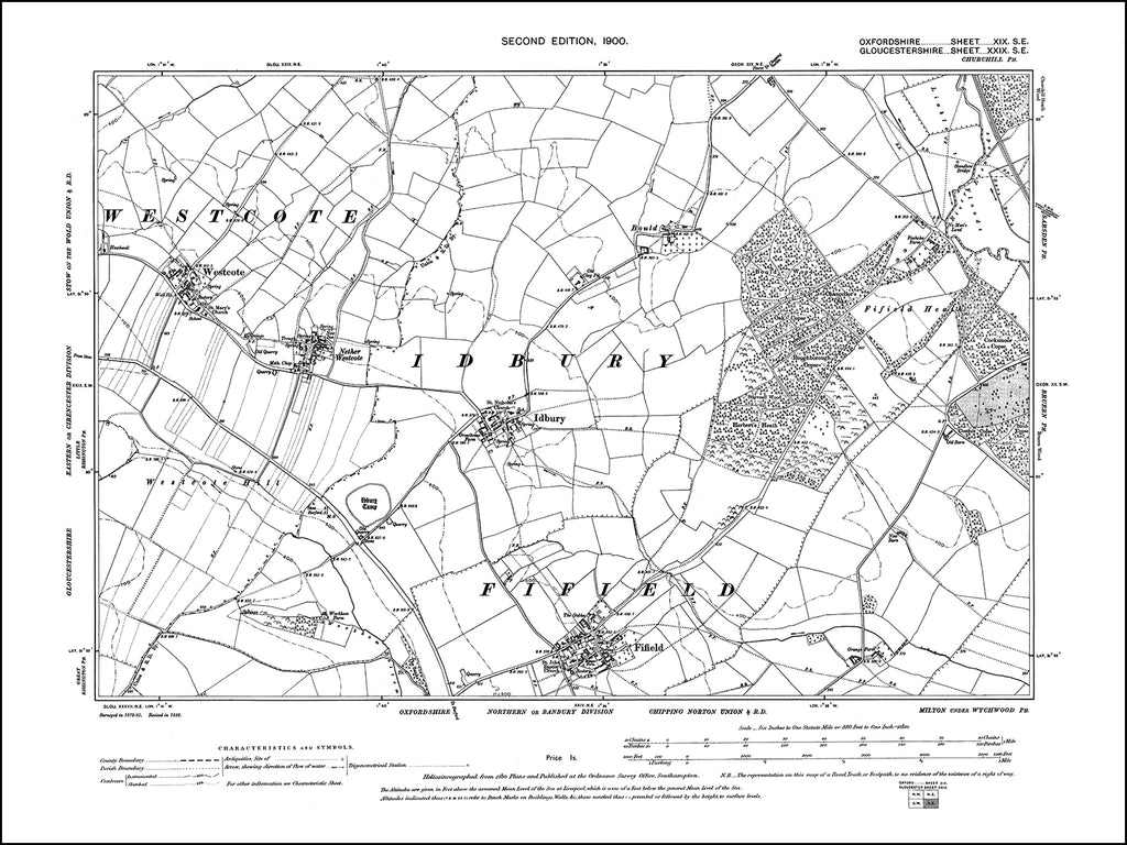 OXFORDSHIRE 019SE : old map of Fifield, Idbury in 1900