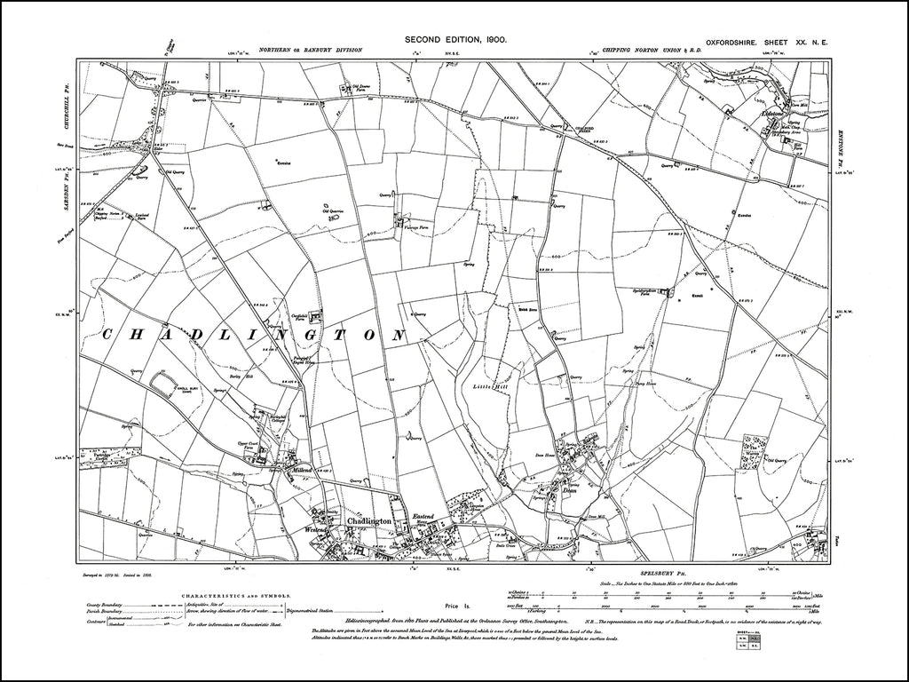 OXFORDSHIRE 020NE : old map of Chadlington (north), Dean in 1900