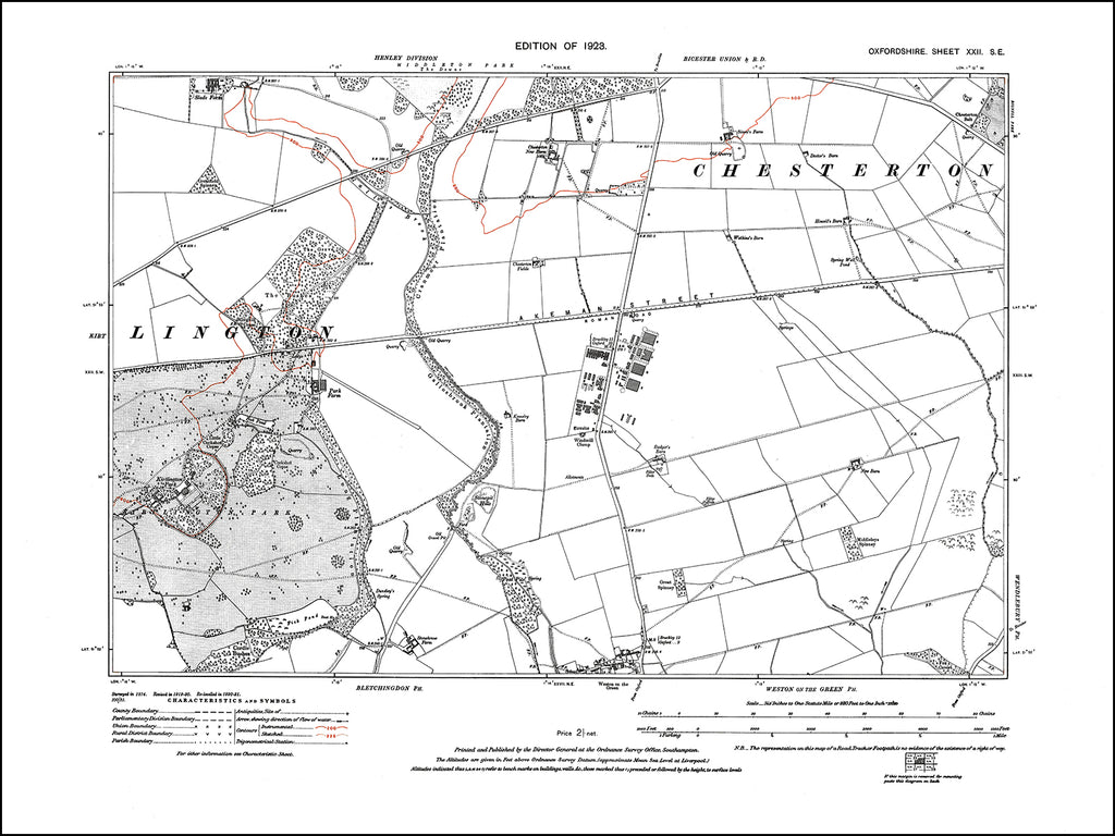 OXFORDSHIRE 022SE : old map of RAF Weston-on-the-Green in 1923