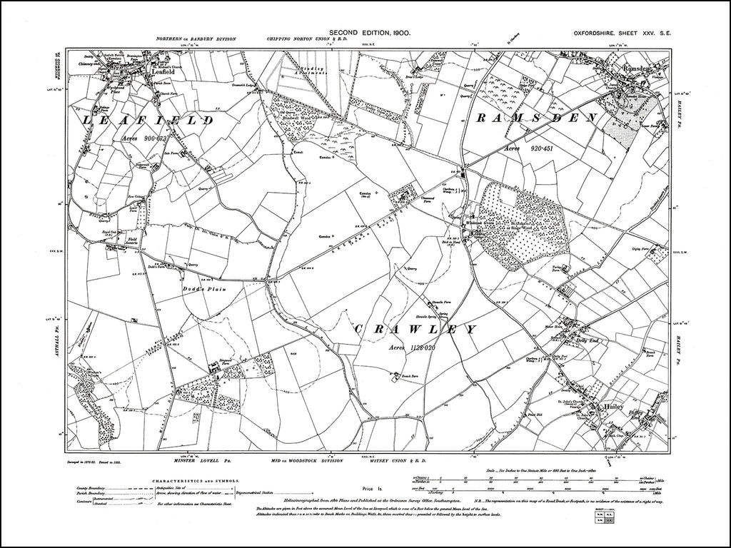 OXFORDSHIRE 025SE : old map of Hailey, Leafield, Ramsden in 1900