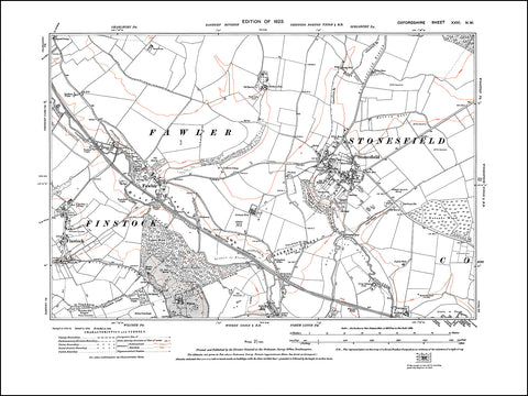 OXFORDSHIRE 026NW : old map of Stonesfield, Fawler, Finstock in 1923