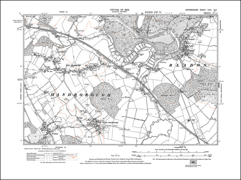OXFORDSHIRE 026SE : old map of Bladon, Church Handborough, Lond Handborough in 1923