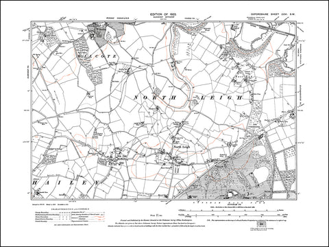 OXFORDSHIRE 026SW : old map of North Leigh, Wilcote, New Yatt in 1923