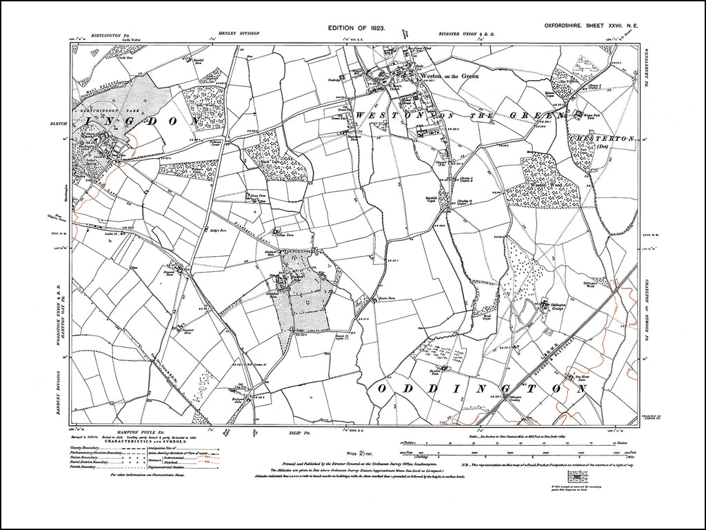 OXFORDSHIRE 027NE : old map of Weston on the Green, Bletchingdon (east) in 1923