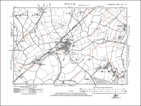 OXFORDSHIRE 027SE : old map of Islip, Noke, Oddington (west) in 1923