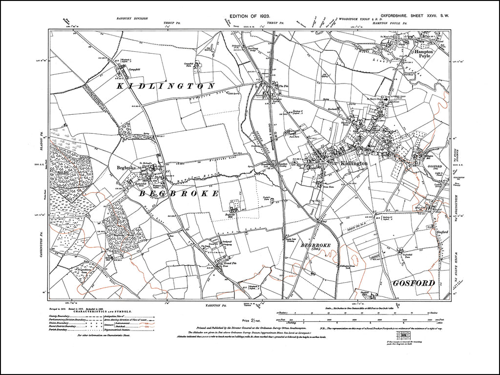 OXFORDSHIRE 027SW : old map of Kidlington, Hampton Poyle, Begbroke in 1923
