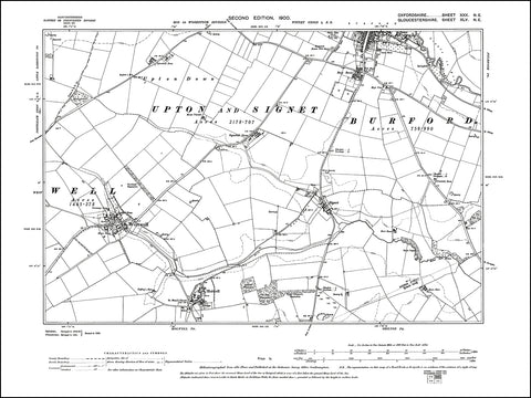 OXFORDSHIRE 030NE : old map of Burford (south), Westwell, Holywell, Signet in 1900