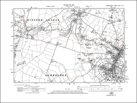 OXFORDSHIRE 031NE : old map of Witney, Minster Lovell, Crawley in 1922
