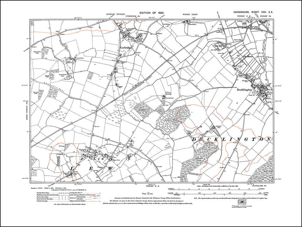 OXFORDSHIRE 031SE : old map of Curbridge, Ducklington, Lew in 1922