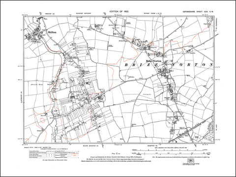 OXFORDSHIRE 031SW : old map of Brize Norton, Shilton, Carterton in 1922
