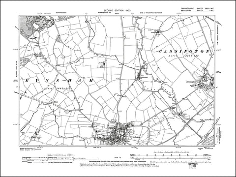 OXFORDSHIRE 032NE : old map of Eynsham (north), Cassington in 1900