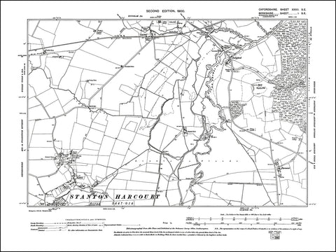 OXFORDSHIRE 032SE : old map of Stanton Harcourt (north) in 1922