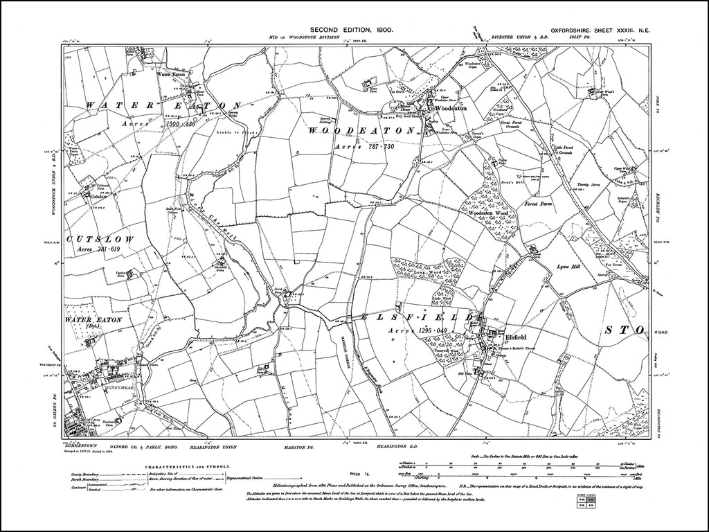 OXFORDSHIRE 033NE : old map of Elsfield, Woodeaton in 1900