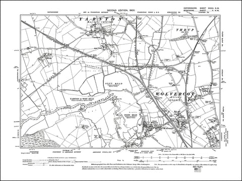OXFORDSHIRE 033NW : old map of Wolvercot, Yarnton in 1900