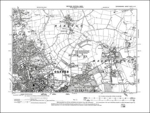 OXFORDSHIRE 033SE : old map of Oxford (northeast), Headington, Marston in 1900