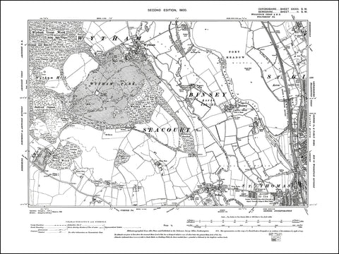 OXFORDSHIRE 033SW : old map of Oxford (northwest), Binsey in 1900