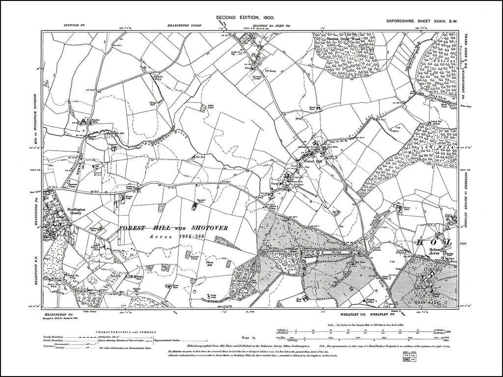 OXFORDSHIRE 034SW : old map of Forest Hill, Headington (east), Stanton St John (south) in 1900