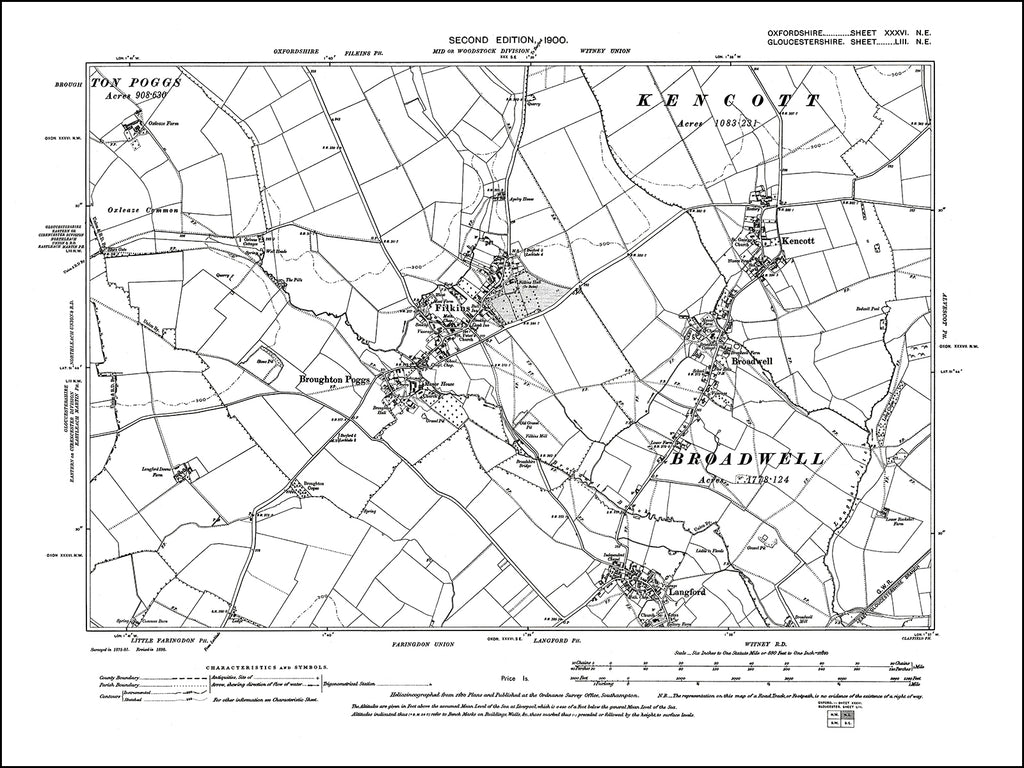 OXFORDSHIRE 036NE : old map of Filkins, Broughton Poggs, Broadwell, Kencott, Langford in 1900