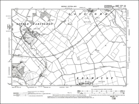 OXFORDSHIRE 036SE : old map of Little Faringdon, Langford (south) in 1900