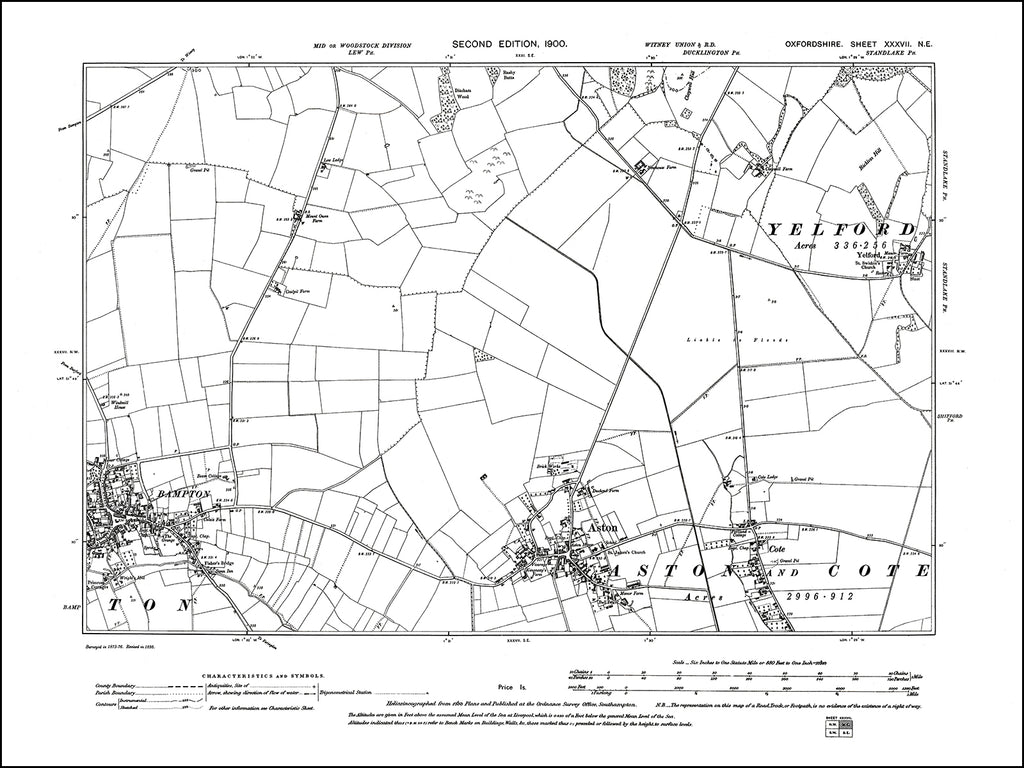OXFORDSHIRE 037NE : old map of Bampton (east), Aston, Cote in 1900