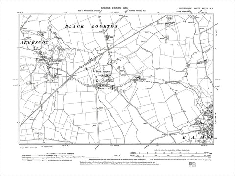 OXFORDSHIRE 037NW : old map of Bampton west, Alvescot, Black Bourton in 1900