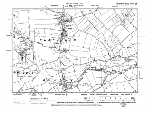 OXFORDSHIRE 037SW : old map of Clanfield, Grafton, Radcot in 1900