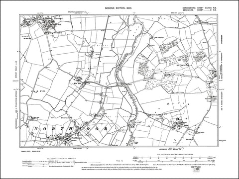OXFORDSHIRE 038NE : old map of Northmoor, Stanton Harcourt in 1900