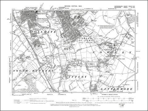 OXFORDSHIRE 039NE : old map of Oxford (south), Cowley, Iffley, South Hinksey in 1900