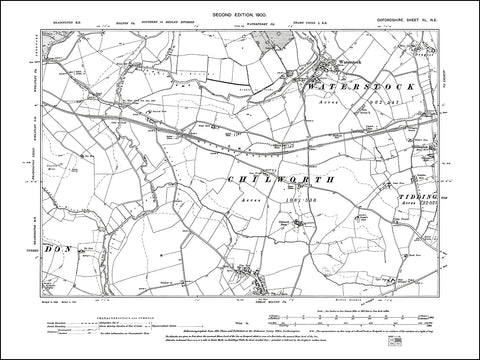 OXFORDSHIRE 040NE : old map of Waterstock, Great Milton (north), Tiddlington (west) in 1900