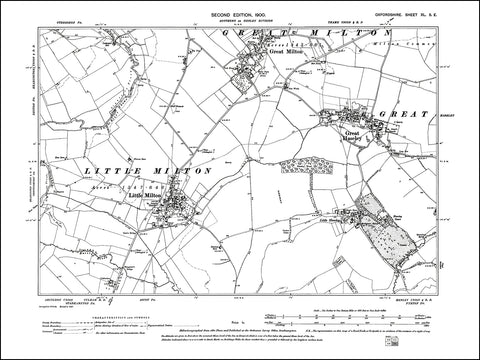 OXFORDSHIRE 040SE : old map of Great & Little Milton, Great & Little Haseley in 1900