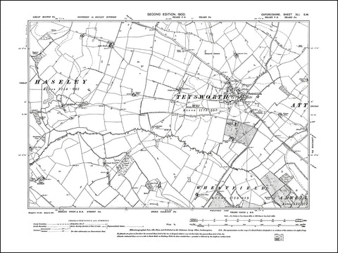 OXFORDSHIRE 041SW : old map of Tetsworth in 1900