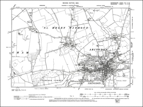 OXFORDSHIRE 045NW : old map of Abingdon, Northcourt, Shippon in 1900
