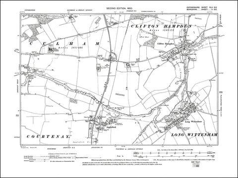OXFORDSHIRE 045SE : old map of Clifton Hampden, Culham College in 1900