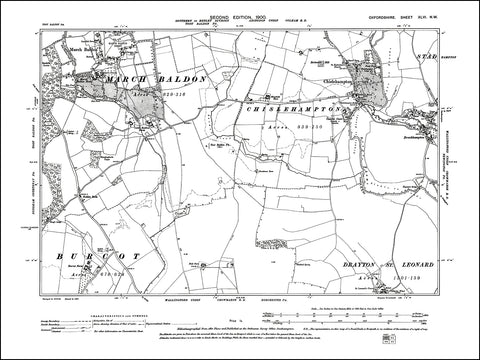 OXFORDSHIRE 046NW : old map of Chislehampton, March Baldon in 1900