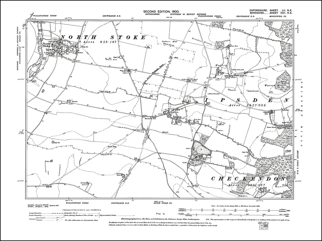 OXFORDSHIRE 052NE : old map of Ipsden, North Stoke in 1900