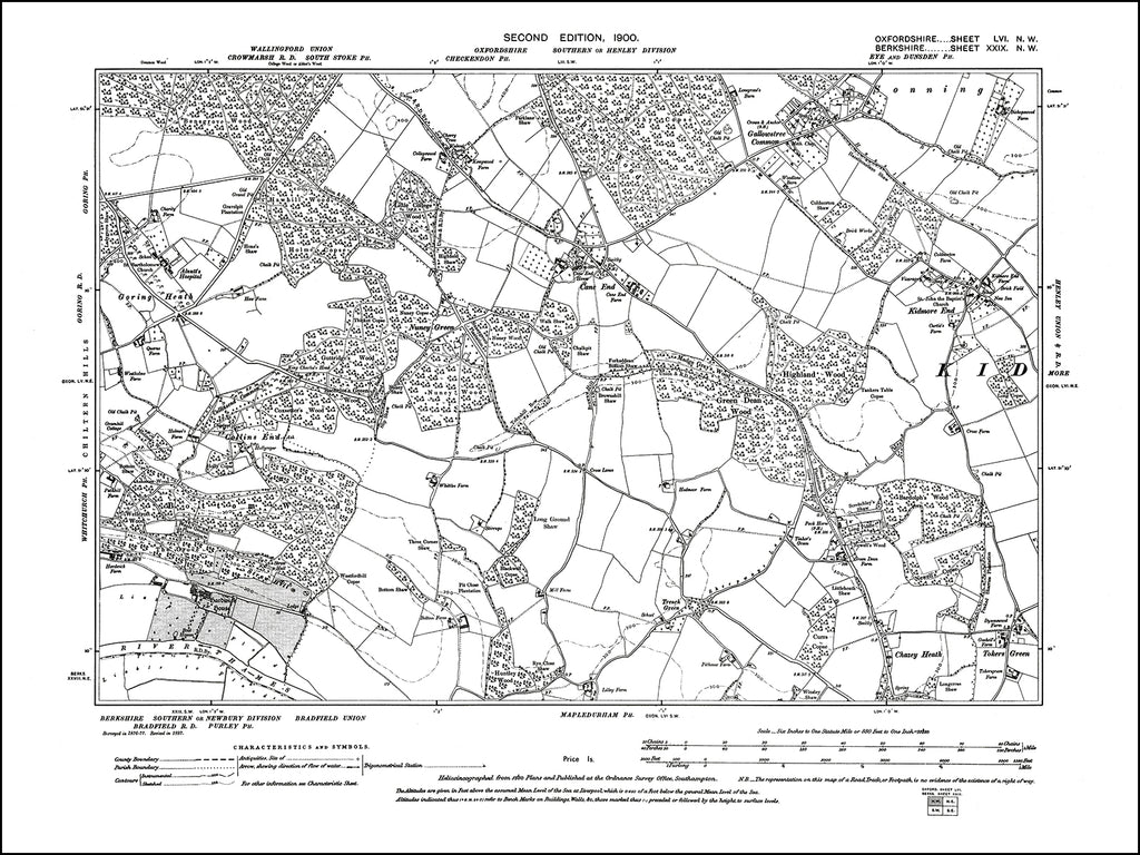 OXFORDSHIRE 056NW : old map of Cane End, Kidmore End, Gallowstree Common in 1900