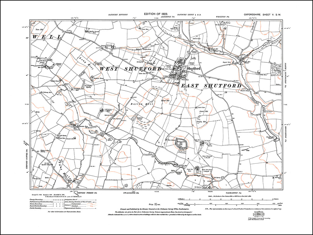 OXFORDSHIRE 005SW : old map of Shutford in 1923