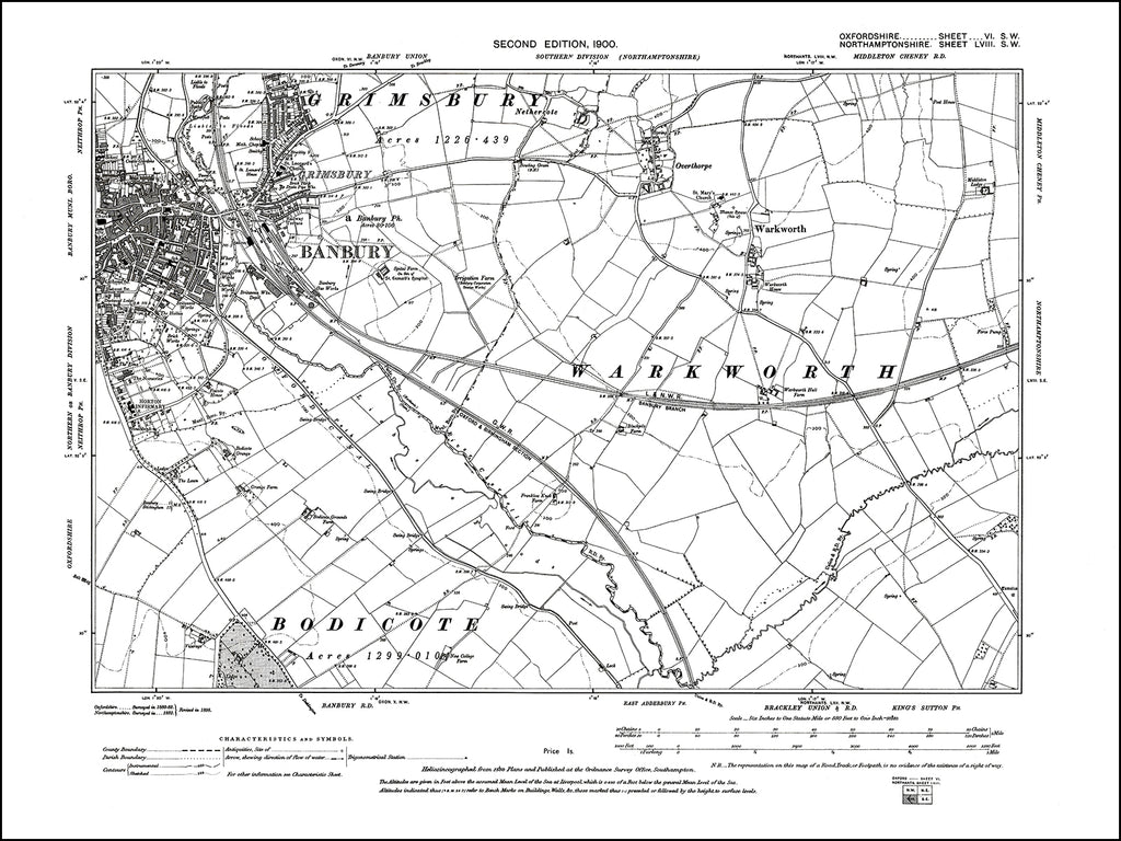 OXFORDSHIRE 006SW : old map of Banbury (east) in 1900