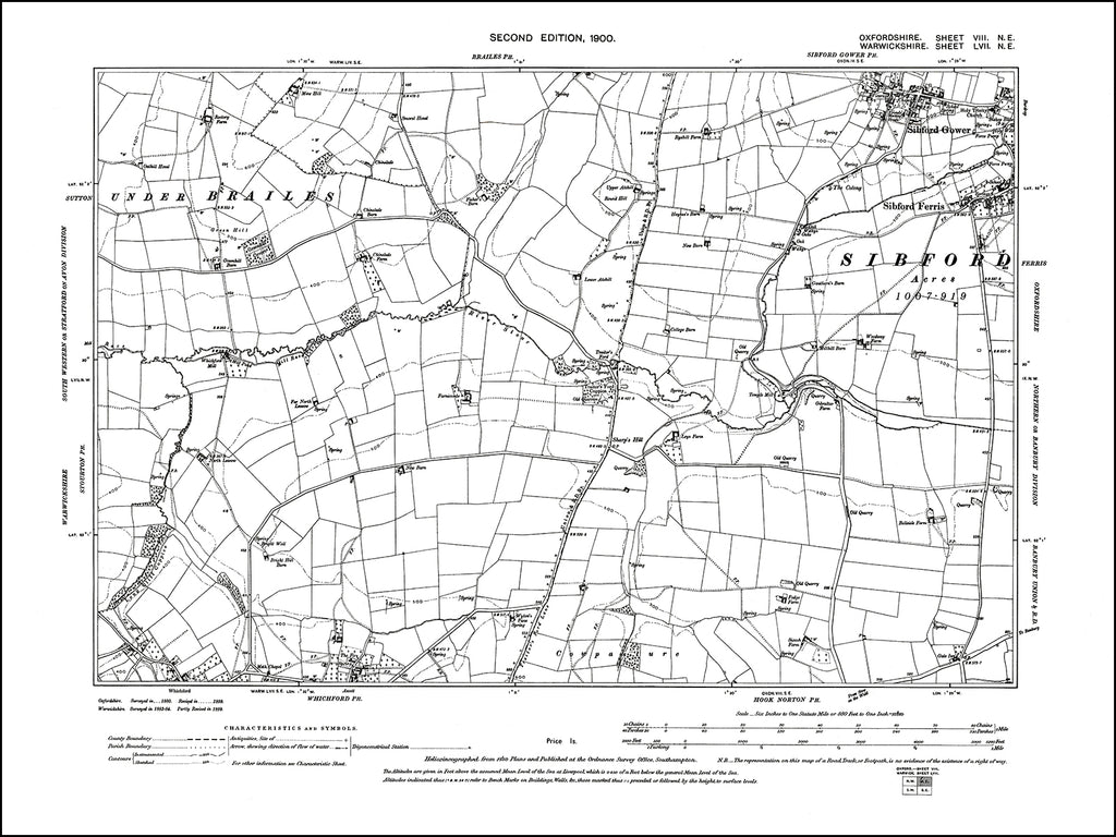 OXFORDSHIRE 008NE : old map of Sibford Gower, Sibford Ferris (west) in 1900