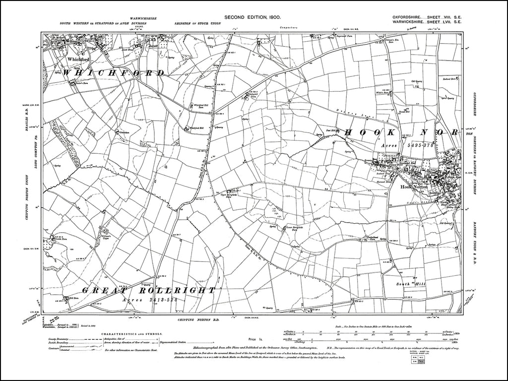 OXFORDSHIRE 008SE : old map of Hook Norton (west), Whichford (south) in 1900