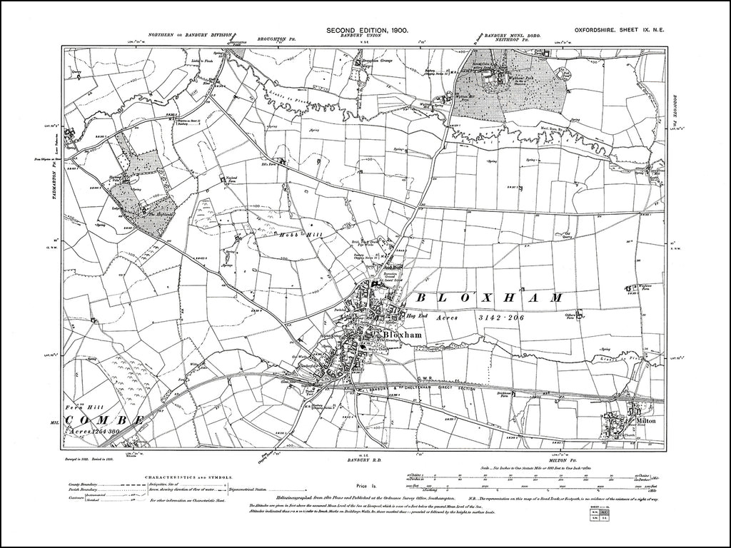OXFORDSHIRE 009NE : old map of Bloxham, Milton in 1900