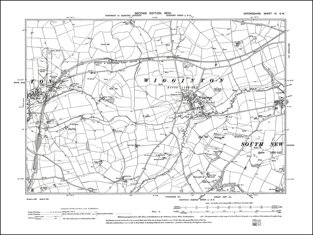 OXFORDSHIRE 009SW : old map of Wigginton, Hook Norton (east) in 1900